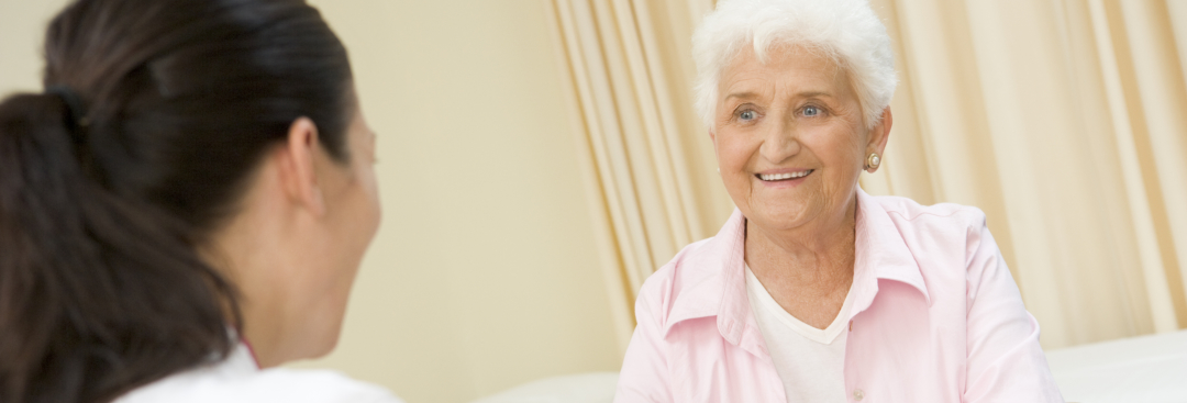 elderly woman at doctor's office